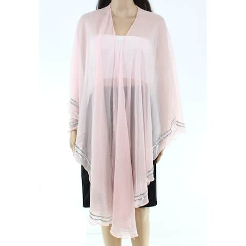 Cejon Wraps Womens Pink Silver One Size Shawl Sequined Sheer Draped