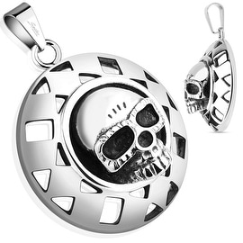 Round Shield Skull Stainless Steel Pendant (31.5 mm Width)