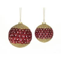 "Set of Red and Gold Glass Embellished Pattern Christmas Tree Ornaments 3-4""D"
