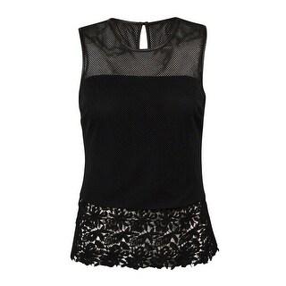 INC International Concepts Women's Illusion Mesh Lace-Hem Top - Deep Black