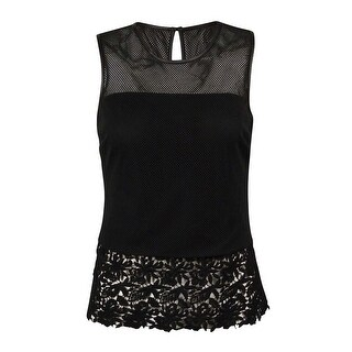 INC International Concepts Women's Illusion Mesh Lace-Hem Top - Deep Black