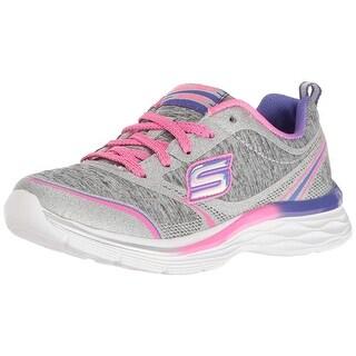 Skechers Kids Girls Dream N'dash-Pep It Up Sneaker, Gray/Pink, Big Kid