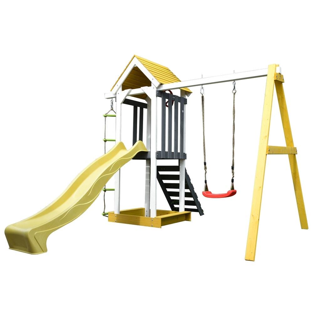 ALEKO Outdoor Backyard Versatile Wooden Swing Playset