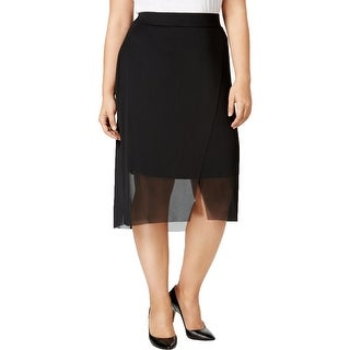 MBLM By Tess Holliday Womens Plus Pencil Skirt Front Slit Mesh Overlay
