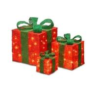 """Set of 3 Red and Green Christmas Decorative Gift Boxes Table Toppers - Clear Lights 14"""""""