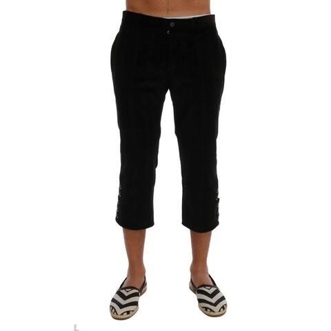 Black Cotton Striped Cropped Men's Pants
