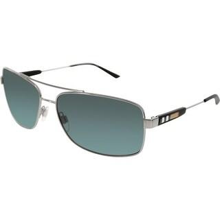 Burberry Men's BE3074-100387-63 Silver Rectangle Sunglasses