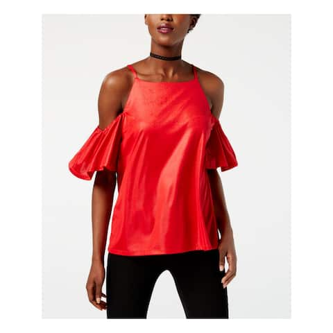 INC Womens Red Cold Shoulder Square Neck Top Size XL