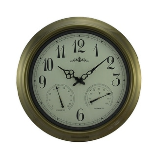 Time & Weather Round Indoor/Outdoor Wall Clock 18 inch