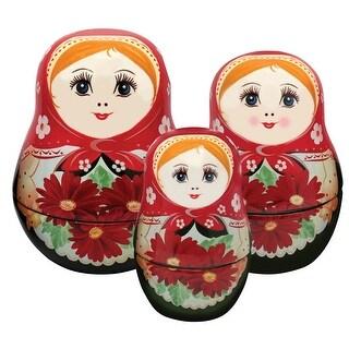 Unamoi Matryoshka Ceramic Measuring Cups, Daisy, Set Of 6, Small, Red Floral