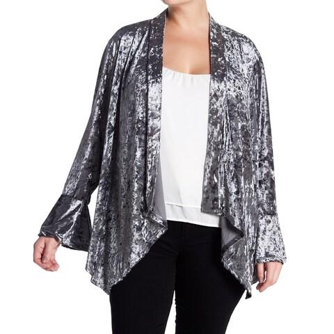Good Luck Gem Silver Women's Size 3X Plus Cardigan Vewlvet Sweater