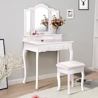 Costway Vanity Makeup Dressing Table Set bathroom W/Stool 4 Drawer&Mirror Jewelry Wood Desk White