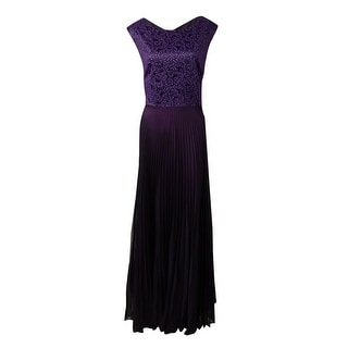 Tahari Women's Belted Glittered Lace Pleated Crepe Gown - 4