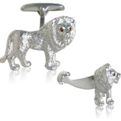 Lion Cufflinks With Swarovski Elements Eyes Animal