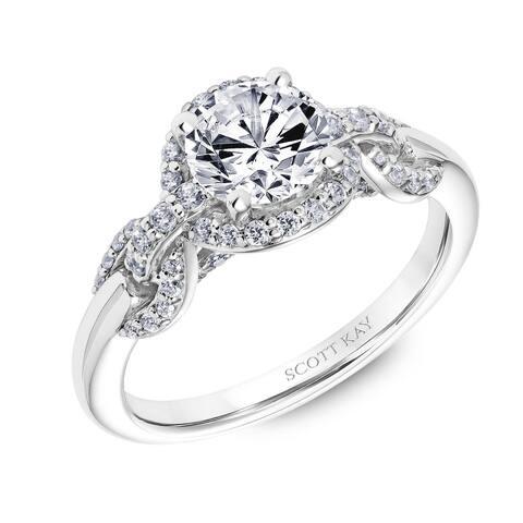 Platinum 0.50 CT Diamond Beauty Ladies Engagement Ring with Round Diamond Halo by Scott Kay - Silver