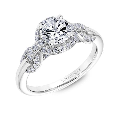 Platinum 0.75 CT Diamond Beauty Ladies Engagement Ring with Round Diamond Halo by Scott Kay - Silver