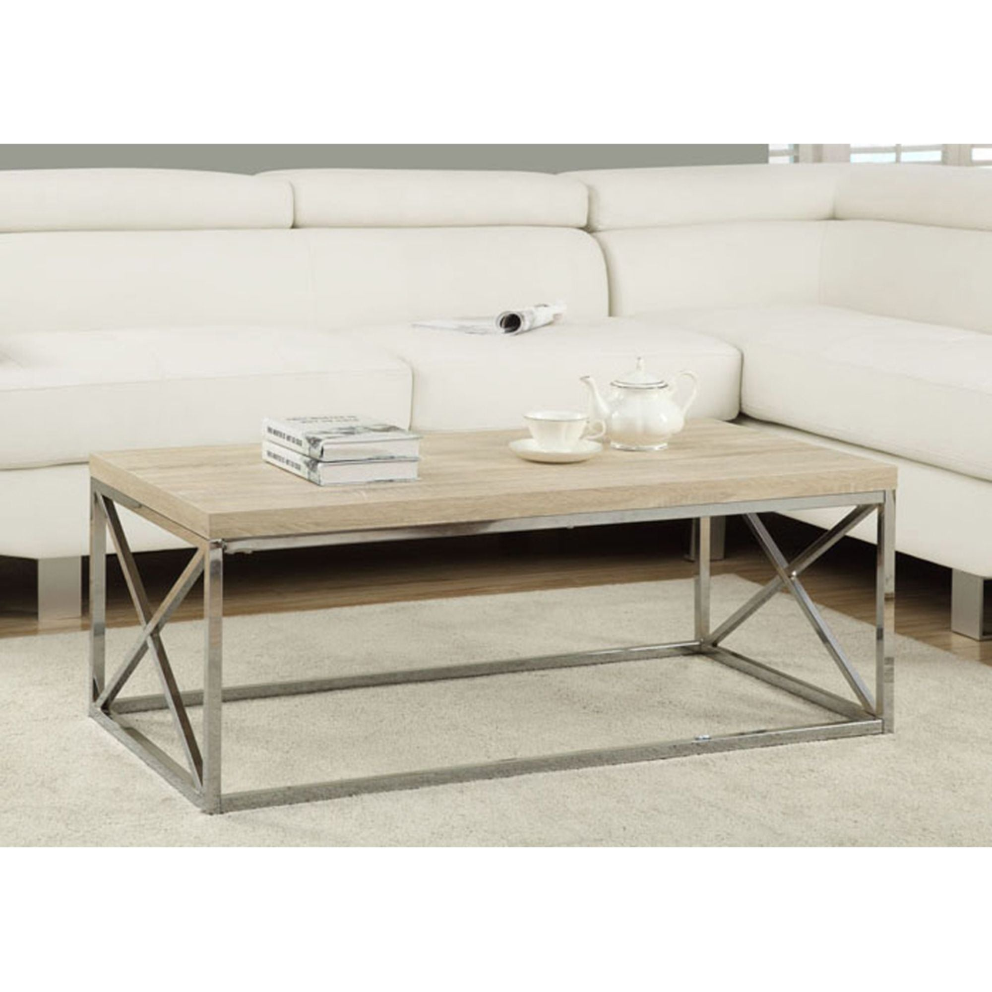 Picture of: Offex Natural Reclaimed Look Chrome Metal Cocktail Table On Sale Overstock 31519451