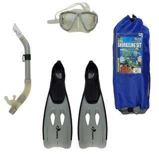 Gray Kona Adult Pro Silicone Water or Swimming Pool Scuba or Snorkeling Set - Medium
