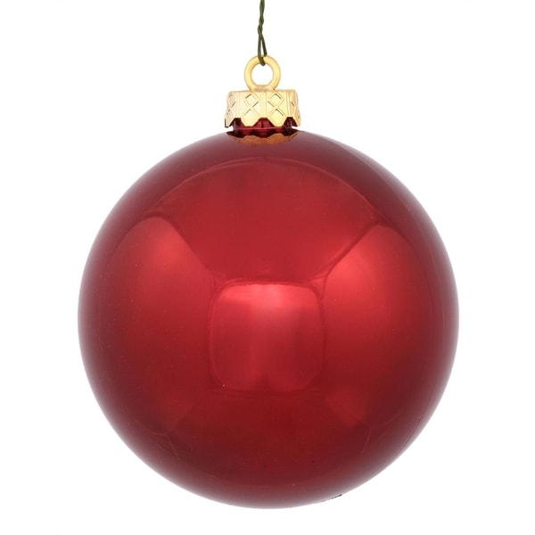 "Shiny Burgundy Red UV Resistant Commercial Shatterproof Christmas Ball Ornament 6"" (150mm)"