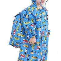 QZUnique Kids' Lightweight Hooded Raincoat with School Bag Cover