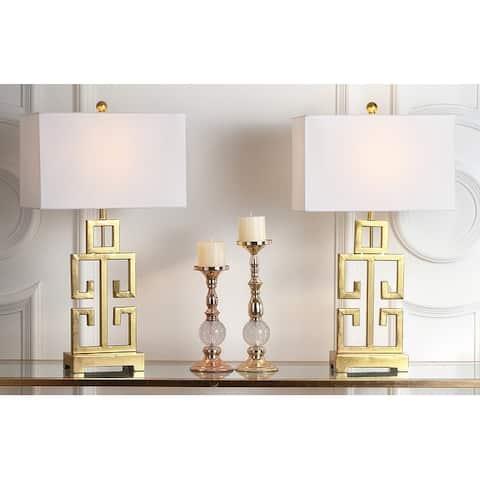 "SAFAVIEH Lighting Greek Key Antiqued Gold 29-inch Table Lamp (Set of 2) - 16"" x 9"" x 29"""