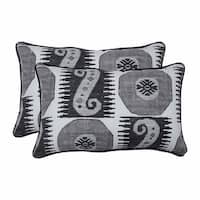 """Set of 2 Black and Gray Contemporary Patterned Rectangular Throw Pillows 18.5"""""""