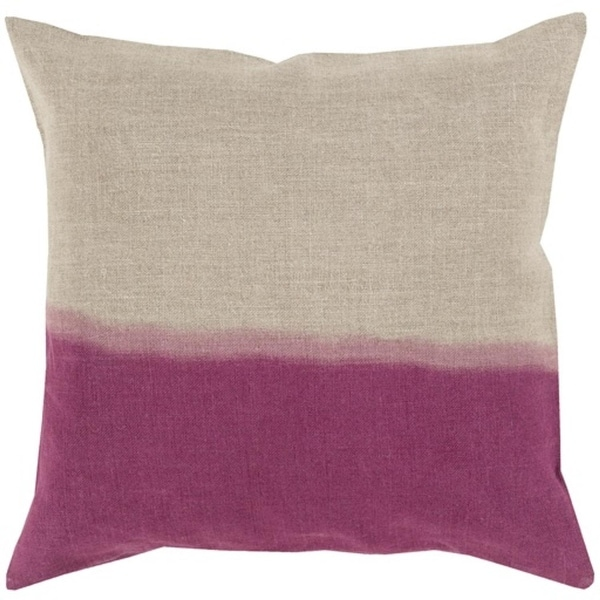 "18"" Magenta Purple and Gray Dip Dyed Decorative Throw Pillow"