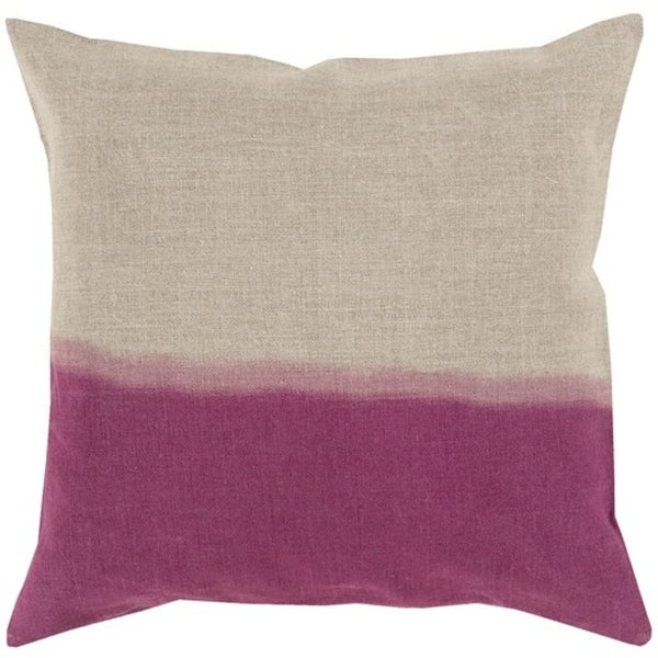 "22"" Magenta Purple and Gray Dip Dyed Decorative Throw Pillow - Down Filler"