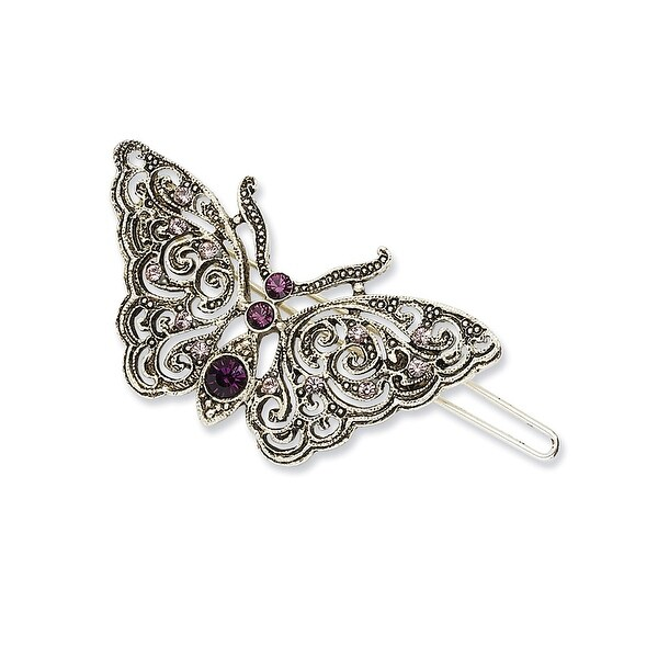 Silvertone Light & Dark Purple Crystal Butterfly Barrette