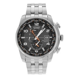 Citizen Men's Stainless Steel 'Eco-Drive' AT9010-52E Black Dial Link Watch