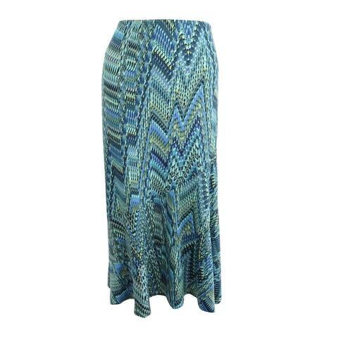 NY Collection Women's Diagonal Stripe Skirt - Green/Blue