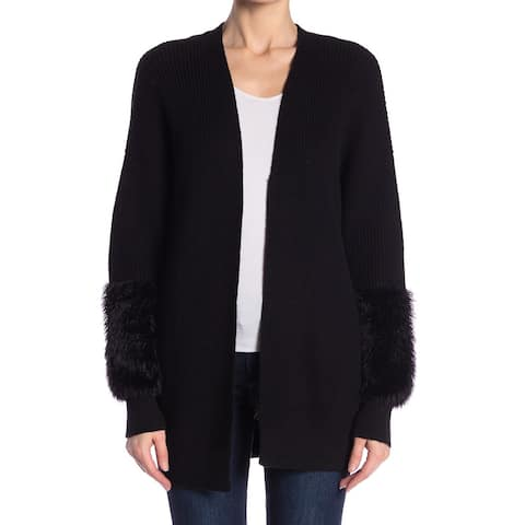 Free Press Womens Black Size Large L Cardigan Faux-Fur Trim Sweater