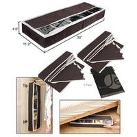 JAVOedge Brown Under the Bed Storage Box With View Windows, Removable and Adjustable Velcro Dividers