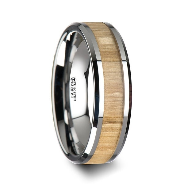 THORSTEN - SAMARA Tungsten Ring with Polished Bevels and Ash Wood Inlay - 6 mm