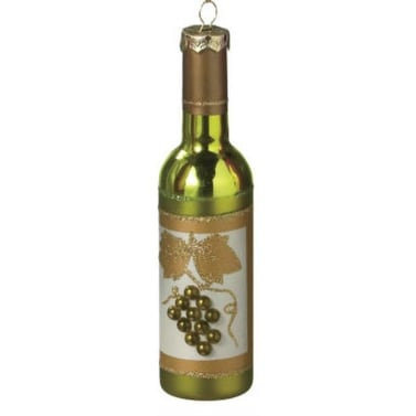 """6"""" Tuscan Winery Green Frosted Grape Wine Bottle Christmas Ornament"""