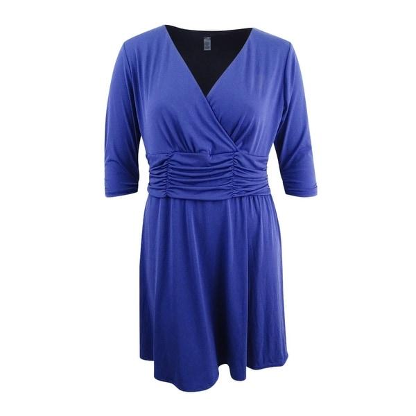 Shop NY Collection Women\'s Petite Plus Size Surplice Dress (1XP ...