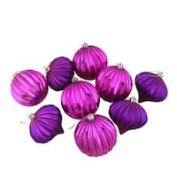 "9ct Pink & Purple Glitter Striped Shatterproof Christmas Onion and Ball Ornaments 4"" (100mm)"