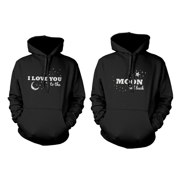 84805ef2bf12 I Love You to the Moon and Back Couple Hoodies Matching Outfit for Couples