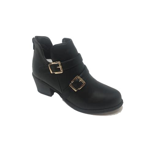 Ameta Black Double-Buckle Ankle Bootie Women