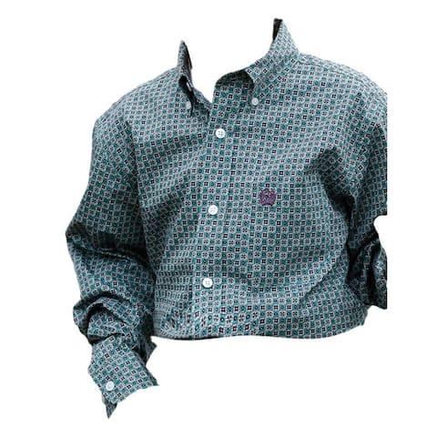Cinch Western Shirt Boys Long Sleeve Black Button Front - Multi-Color
