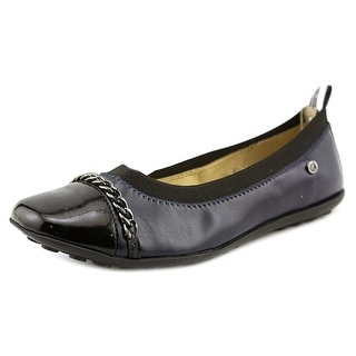 Naturino 3672 Youth Round Toe Leather Blue Ballet Flats