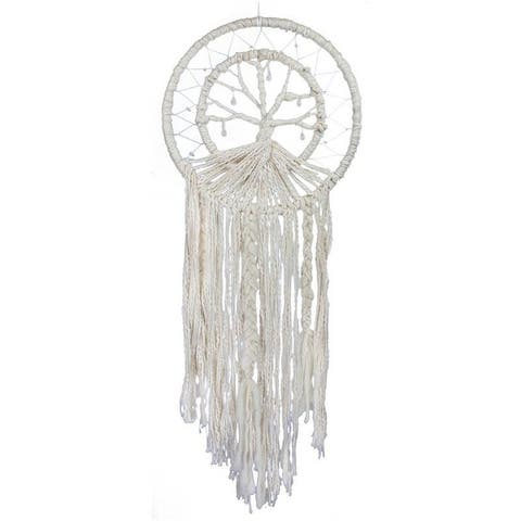 The Curated Nomad Handmade Large Bohemian Macrame Tree of Life Dreamcatcher