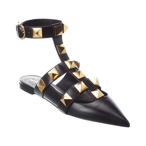 Valentino Roman Stud Leather Ankle Strap Flat