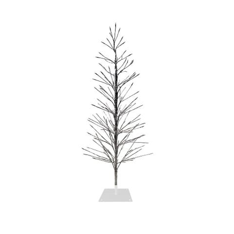 Alpine Corporation Artificial Silver Christmas Tree with LED Lights