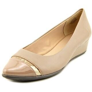 Easy Spirit e360 Alexina Women W Open Toe Leather Wedge Heel