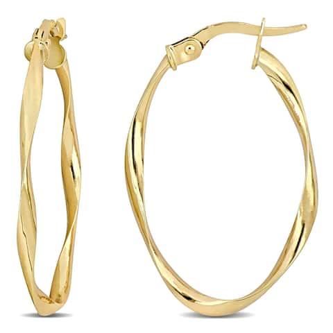 Miadora 10k Yellow Gold Twisted Hoop Earrings