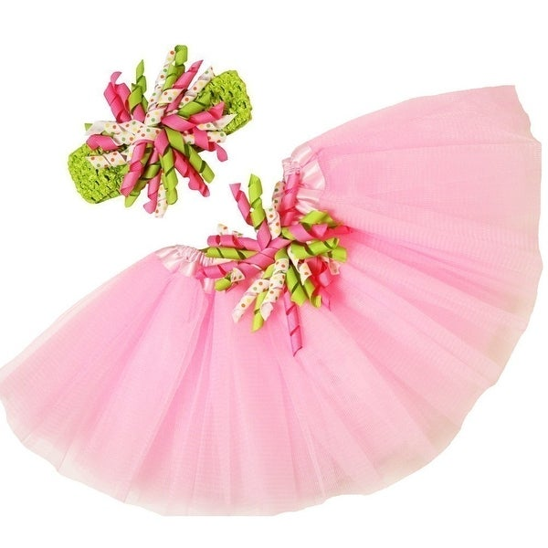 Girls Pink Lime Polka Dots Tutu Korker Bow Headband Combo 0-8Y
