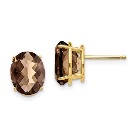 14K Yellow Gold 10x8mm Oval Checker-cut Smoky Quartz Stud Earrings by Versil