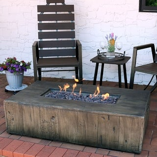 "Link to Sunnydaze Rustic Faux Wood Propane Gas Fire Pit Table w/ Cover & Lava Rocks- 48"" Similar Items in Fire Pits & Chimineas"