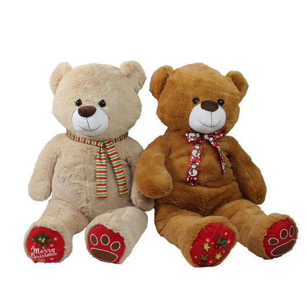 Set of 2 Super Soft and Plush Brown and Beige Christmas Stuffed Bears Figures 40""